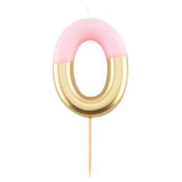 0-ás Fényes Pink Arany Szülinapi Számgyertya