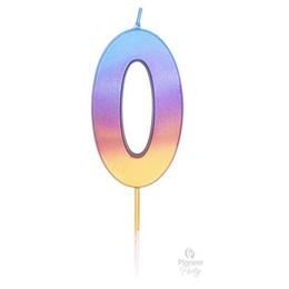 0-as Szivárvány Ombre Színű Szülinapi Gyertya - 7 cm-es
