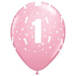 11 inch-es 1-es printelt Stars Pink Első Szülinapi Számos Lufi (6 db/csomag)