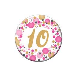 10-es Rózsaszín Pasztell Konfettis Szülinapi Számos Parti Kitűző - 5,5 cm