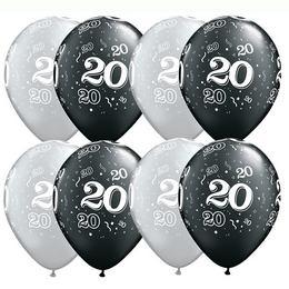 11 inch-es 20-as Printelt Black/Metallic Silver Szülinapi Számos Lufi (25 db/csomag)