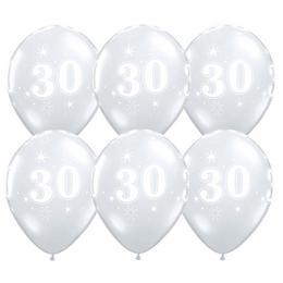 11 inch-es 30-as Sparkle-A-Round Diamond Clear Szülinapi Lufi (25 db/csomag)