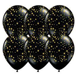 11 inch-es Arany Csillag Mintás Fekete Lufi (6 db/csomag)