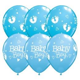 11 inch-es Baby Boy Footprints & Hearts Lufi Babaszületésre (6 db/csomag)