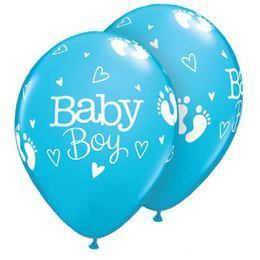 11 inch-es Baby Boy Footprints & Hearts Robins Egg Blue Lufi (25 db/csomag)