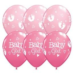 11 inch-es Baby Girl Footprints & Hearts Lufi Babaszületésre (6 db/csomag)