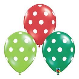 11 inch-es Big Polka Dots Pöttyös Assorted Lufi Karácsonyra (50 db/csomag)