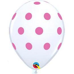 11 inch-es Big Polka Dots White Pink Lufi (25 db/csomag)