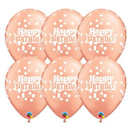 11 inch-es Birthday Confetti Dots Rosegold Szülinapi Lufi (25 db/csomag)