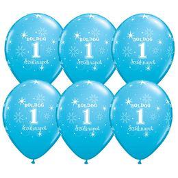 11 inch-es Boldog 1. Szülinapot Feliratú Sparkle Robins Egg Blue Szülinapi Lufi - 6db