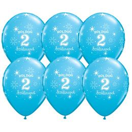 11 inch-es Boldog 2. Szülinapot Feliratú Sparkle Robins Egg Blue Szülinapi Lufi -6 db
