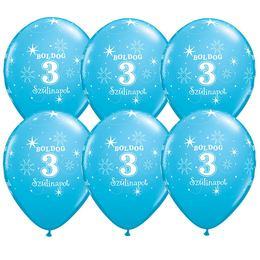11 inch-es Boldog 3. Szülinapot Feliratú Sparkle Robins Egg Blue Szülinapi Lufi -6 db
