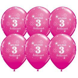 11 inch-es Boldog 3. Szülinapot Feliratú Sparkle Wild Berry Szülinapi Lufi - 6 db