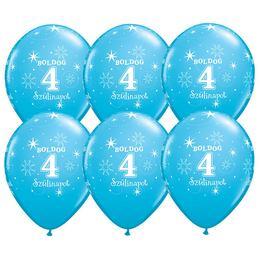 11 inch-es Boldog 4. Szülinapot Feliratú Sparkle Robins Egg Blue Szülinapi Lufi -6 db