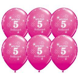 11 inch-es Boldog 5. Szülinapot Feliratú Sparkle Wild Berry Szülinapi Lufi - 6 db