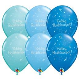 11 inch-es Boldog Születésnapot Shining Star II Lufi Fiús Színekben (6 db/csomag)