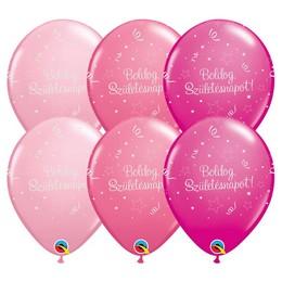 11 inch-es Boldog Születésnapot Shining Star II Lufi Lányos Színekben (6 db/csomag)