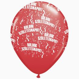 11 inch-es Boldog Születésnapot Sparkling Burgundy - Bordó Lufi (6 db/csomag)