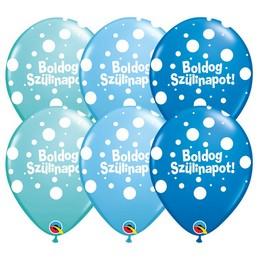 11 inch-es Boldog Szülinapot Big Polka Dots II Lufi Fiús Színekben (6 db/csomag)