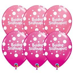 11 inch-es Boldog Szülinapot Big Polka Dots III Lufi Lányos Színekben (25 db/csomag)