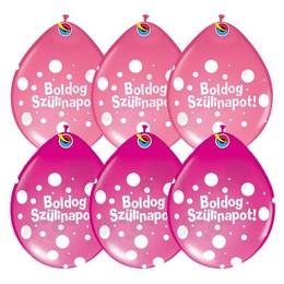11 inch-es Boldog Szülinapot Big Polka Dots Neck Up III Lufi Lányos Színekben (25 db/