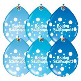 11 inch-es Boldog Szülinapot Big Polka Dots Neck Up Lufi Fiús Színekben (6 db/csomag)