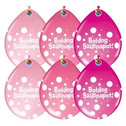 11 inch-es Boldog Szülinapot Big Polka Dots Neck Up Lufi Lányos Színekben (6 db/csoma