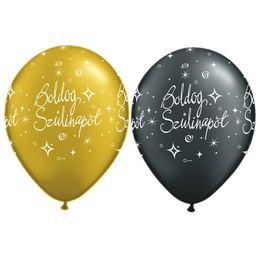 11 inch-es Boldog Szülinapot Gold és Black - Arany és Fekete Lufi (6 db/csomag)
