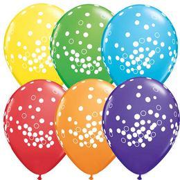 11 inch-es Confetti Dots Bright Rainbow Lufi (25 db/csomag)