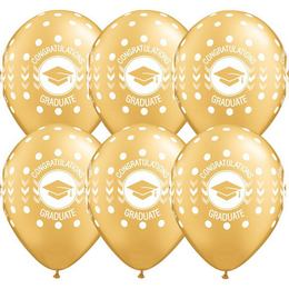 11 inch-es Congatulations Graduate Dots Metallic Gold Ballagási Lufi (25 db/csomag)