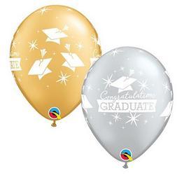 11 inch-es Congratulations Graduate Caps Fehér Printtel Ballagási Lufi (25 db/csomag)