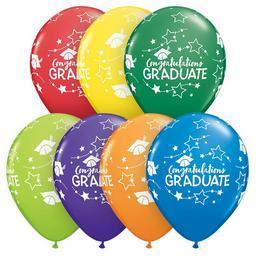 11 inch-es Congratulations Graduate Stars Carnival Ast. Ballagási Lufi (25 db/csomag)