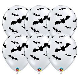 11 inch-es Denevér Mintás - Bats Diamond Clear Lufi Halloween-ra (6 db/csomag)