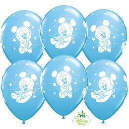 11 inch-es Disney Baby Mickey Stars Pale Blue Lufi (6 db/csomag)