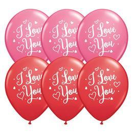 11 inch-es I Love You Hearts Script Piros & Rózsaszín Szerelmes Lufi (25 db/csomag)