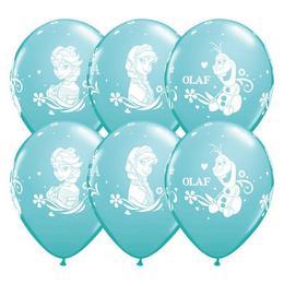 11 inch-es Jégvarázs - Frozen Anna, Elsa, Olaf Carribean Blue Lufi (6 db/csomag)