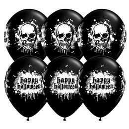 11 inch-es Koponya Mintás - Halloween Haunted Skull Lufi (6 db/csomag)
