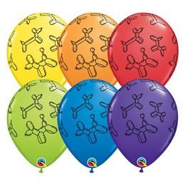 11 inch-es Lufikutya Mintás - Balloon Dogs Carnival Assortment Lufi (6 db/csomag)
