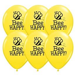 11 inch-es Méhecske Mintás - Bee Happy Yellow Lufi (25 db/csomag)