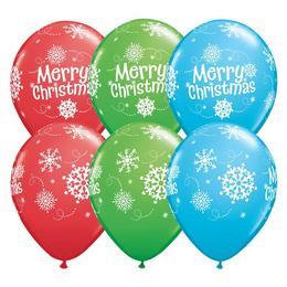 11 inch-es Merry Christmas Snowflakes Karácsonyi Lufi (25 db/csomag)