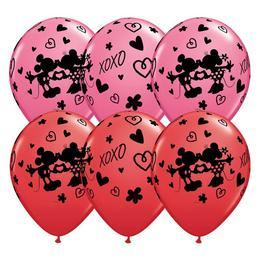 11 inch-es Mickey & Minnie XOXO Red & Rose Szerelmes Lufi (25 db/csomag)