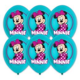 11 inch-es Minnie Egér - Minnie Mouse Színes Printelt Lufi, 6 db-os