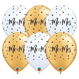 11 inch-es Mr. & Mrs. Feliratú Gold White Esküvői Lufi (25 db/csomag)