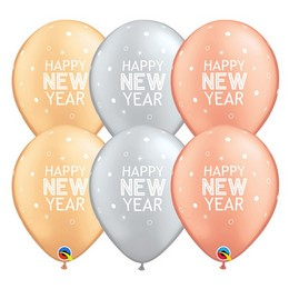 11 inch-es Happy New Year Feliratú - Sparkles & Dots Special Assortment Lufi (25 db/c
