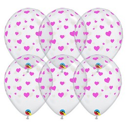 11 inch-es Pink Hearts Diamond Clear Szülinapi Lufi (25 db/csomag)