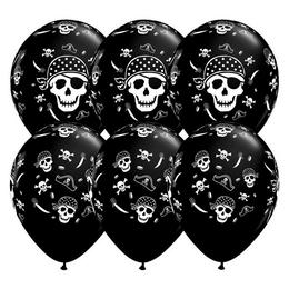 11 inch-es Pirate Skull & Cross Bones Onyx Black Lufi (50 db/csomag)