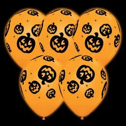 11 inch-es Q-lite LED Jack O'Lantern - Tökfej Mintás Halloween Világító Lufi (4 db/cs