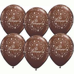 11 inch-es Sok Boldogságot Chocolate Brown Virágmintás Lufi Esküvőre (25 db/csomag)