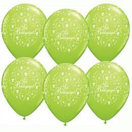 11 inch-es Sok Boldogságot Lime Green Virágmintás Lufi Esküvőre (25 db/csomag)