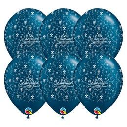 11 inch-es Sok Boldogságot Pearl Midnight Blue Lufi Esküvőre (25 db/csomag)